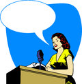 Retro broadcaster woman Royalty Free Stock Photography
