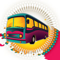 Retro bus background. Royalty Free Stock Photo