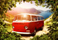 Retro bus red standing against nature Royalty Free Stock Photography