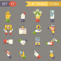 Retro business hands symbols finance accessories icons set trendy modern flat design template vector illustration Royalty Free Stock Photo