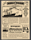 Retro business newspaper, old dirty sheets newsprint vector mockup Royalty Free Stock Photo