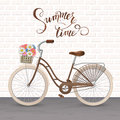Retro bycicle with basket of flowers. Healthy lifestyle, fitness