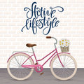 Retro bycicle with basket of flowers. Healthy lifestyle, fitness.