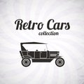 Retro cabriolet car vintage collection classic garage sign vector illustration background can be used for design card infographics Royalty Free Stock Photos