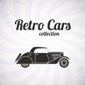 Retro cabriolet car vintage collection classic garage sign vector illustration background can be used for design card infographics Stock Image