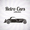 Retro cabriolet sport car vintage collection classic garage sign vector illustration background can be used for design Royalty Free Stock Photography