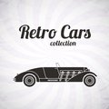 Retro cabriolet sport car vintage collection classic garage sign vector illustration background can be used for design Stock Images
