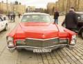 Retro cadillac moscow april car on rally of classical cars on poklonnaya hill april in town moscow russia Royalty Free Stock Photo