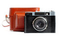 Retro camera and case Royalty Free Stock Images