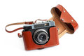 Retro camera and case Royalty Free Stock Photo