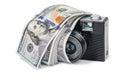 Retro camera with dollars