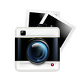 Retro camera icon and photos isolated on white