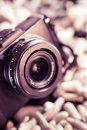 Retro camera lens rangefinder in brown tone Stock Photos
