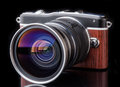 Retro camera photo lens of Stock Photography