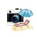 Retro camera and vacation icon isolated