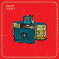 Retro camera vintage with two lenses hand drawn Stock Images