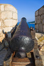 Retro cannon at dubrovnik croatia architecture background Stock Photos