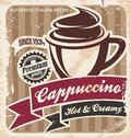Retro cappuccino poster on old paper texture vintage coffee cup vector background template for coffee shop or restaurant Royalty Free Stock Photo
