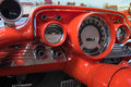 Retro car dashboard with gauges Royalty Free Stock Photo