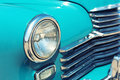 Retro car headlight closeup of Stock Image