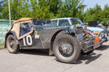 Retro car mg tc year samara russia june rally of cars peking paris june in samara russia day of rest and repairs in samara Stock Images