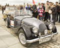 Retro car morgan on rally of classical cars moscow april poklonnaya hill april in town russia Royalty Free Stock Photo