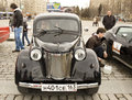 Retro car moskvich russian on rally of classical cars on poklonnaya hill april in town moscow russia unidentified people looking Royalty Free Stock Image