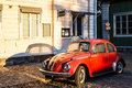 Retro car in porvoo a beautiful finnish city of Stock Image