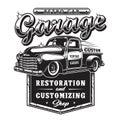 Retro car repair garage sign with retro style truck.
