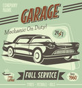 Retro car service sign vector illustration Stock Image