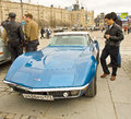 Retro car shevrolet corvette moscow april chevrolet on rally of classical cars on poklonnaya hill april in town moscow russia Royalty Free Stock Photo