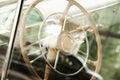 Retro car steering wheel Royalty Free Stock Photo