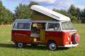 Retro car, Volkswagen bus 1969, camping model Royalty Free Stock Photo