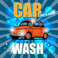 Retro car wash sign color illustration Royalty Free Stock Photo