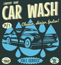 Retro car wash sign vector illustration Royalty Free Stock Photography