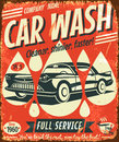 Retro car wash sign vector illustration Stock Images