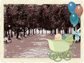 Retro card with a baby in a pram on a city park background Stock Photography