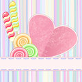 Retro card with lollipops striped greeting ornate heart and Royalty Free Stock Photos