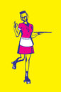 Retro carhop waitress holding empty tray illustration of a on roller skates in pink uniform an showing an okay sign Royalty Free Stock Photo