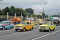 Retro cars at First Moscow Parade of City Transport Royalty Free Stock Photo