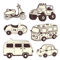 Retro cars icons set isolated for your business Stock Photography