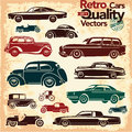 Retro cars icons set vintage vectors Royalty Free Stock Image