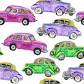 Retro cars pattern seamless with watercolor Stock Photos