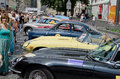Retro cars in a row on display outdoors in lvov ukraine june unknown model during festival leopolis grand prix june ukraine Stock Photo