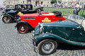 Retro cars in a row on display outdoors in lvov ukraine june unknown model during festival leopolis grand prix june ukraine Stock Photos