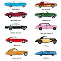 Retro Cars Sketch And Flat Vector Illustration. Poster And Icon Illustration Isolated