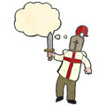Retro cartoon arthurian knight Royalty Free Stock Image