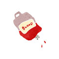 Retro cartoon bag of blood illustration on plain white background Stock Images