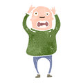 Retro cartoon bald man panicking illustration on plain white background Stock Photography