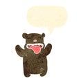 retro cartoon bear with speech bubble